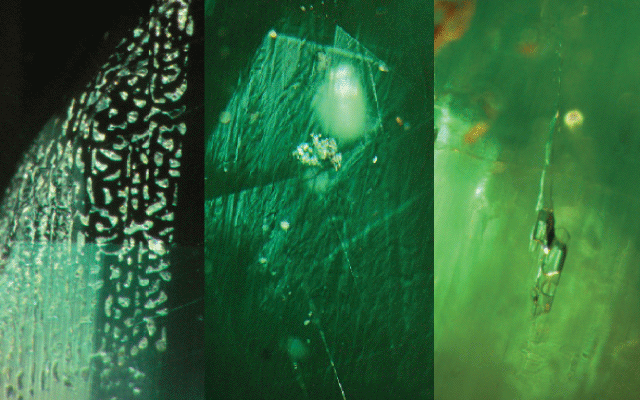 synthetic and natural emerald inclusions