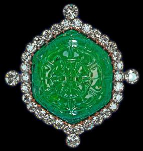 British Royal emerald diamond brooch