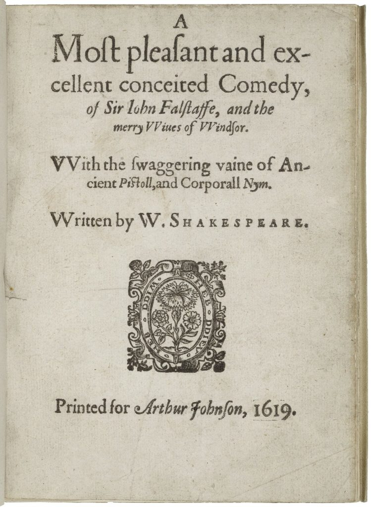 title page Merry Wives of Windsor