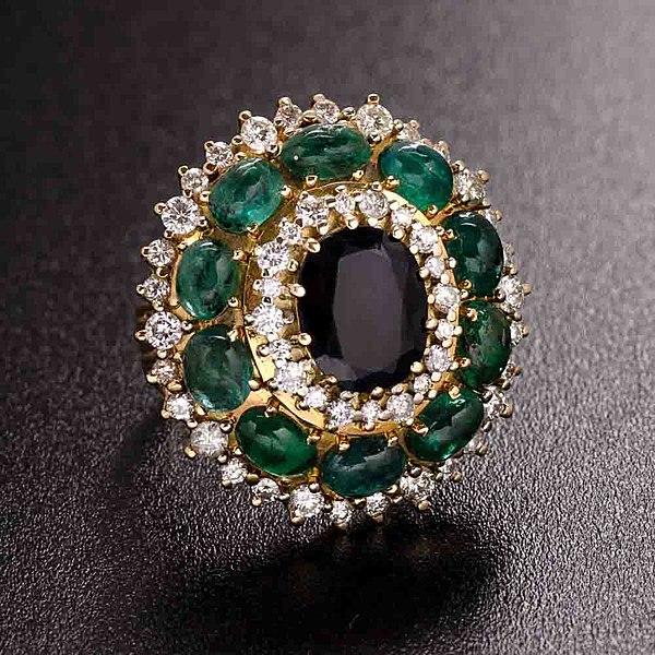 Victorian emerald sapphire ring