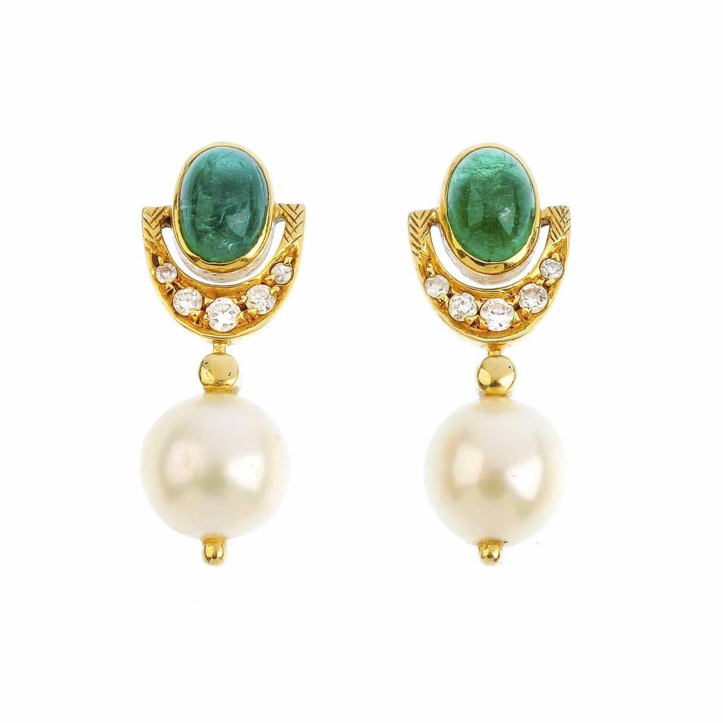 antique emerald pearl earrings