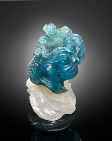aquamarine carving poseidon