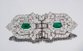 art deco emerald clip