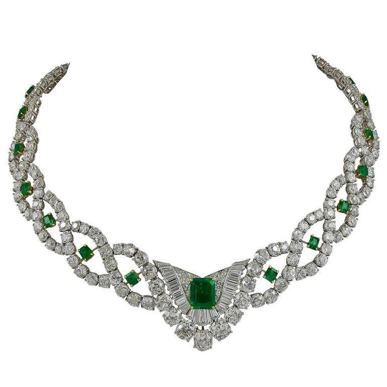 cartier collar emerald necklace
