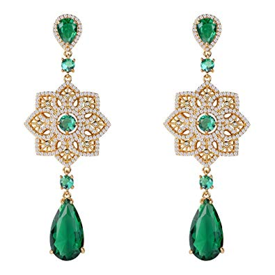 chinese knot emerald earrings
