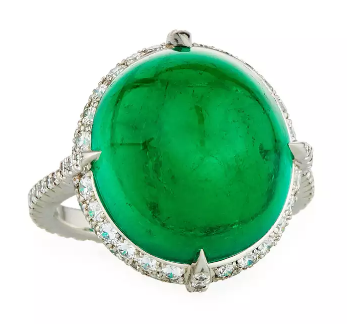 colombian cabochon emerald ring