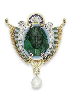 egyptian revival emerald brooch
