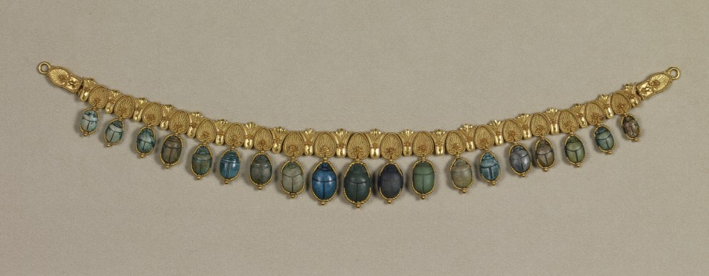 egyptian revival necklace scarabs