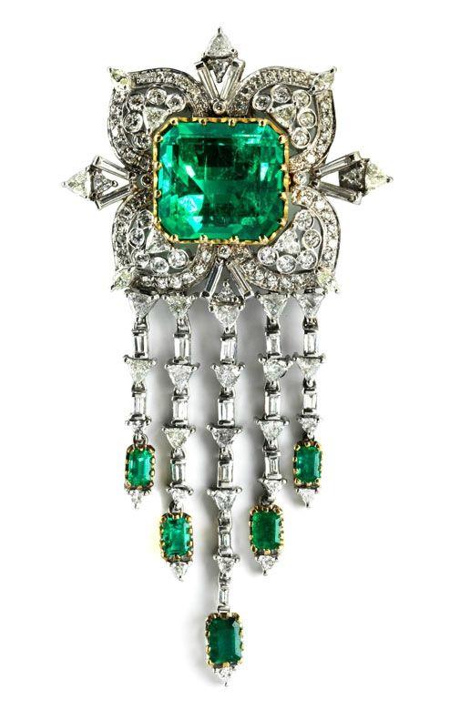 emerald diamond brooch