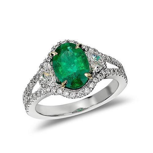 emerald diamond modern ring