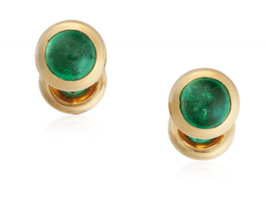 emerald gold cufflinks