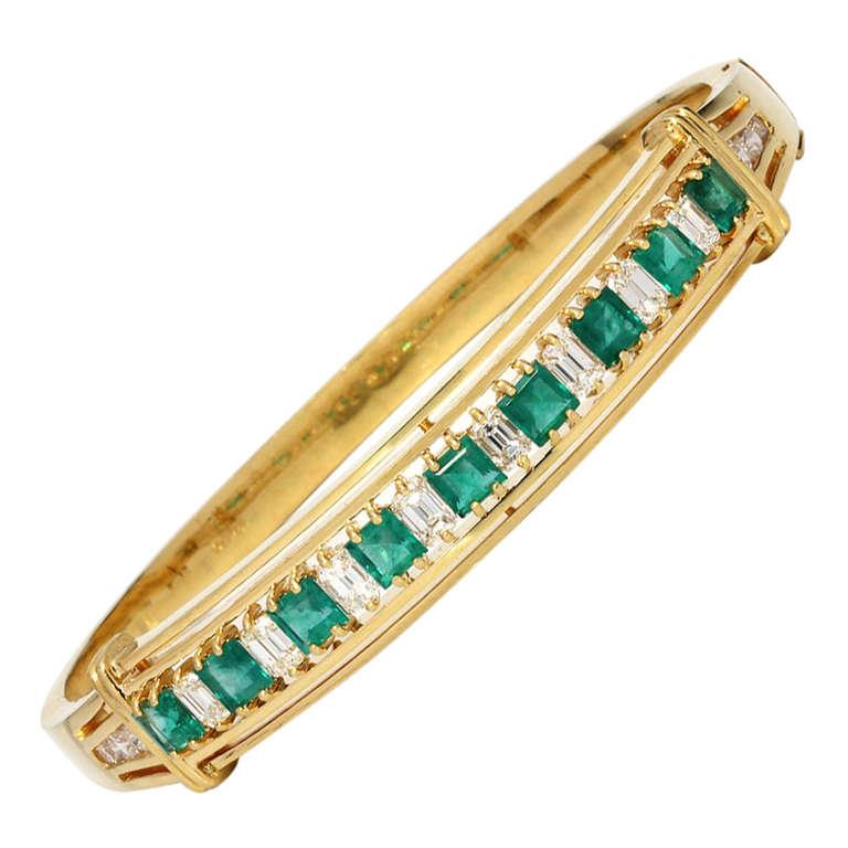 gold emerald vintage cuff