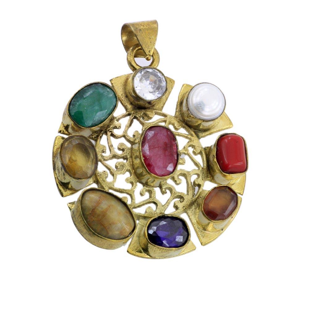modern navaratna pendant