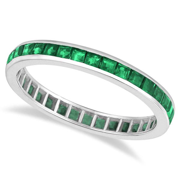 channel set princess cut emerald eternity band