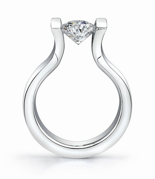 tension setting engagement ring