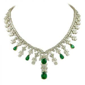 tiffany emerald diamond necklace