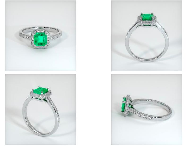 emerald engagement ring rendering