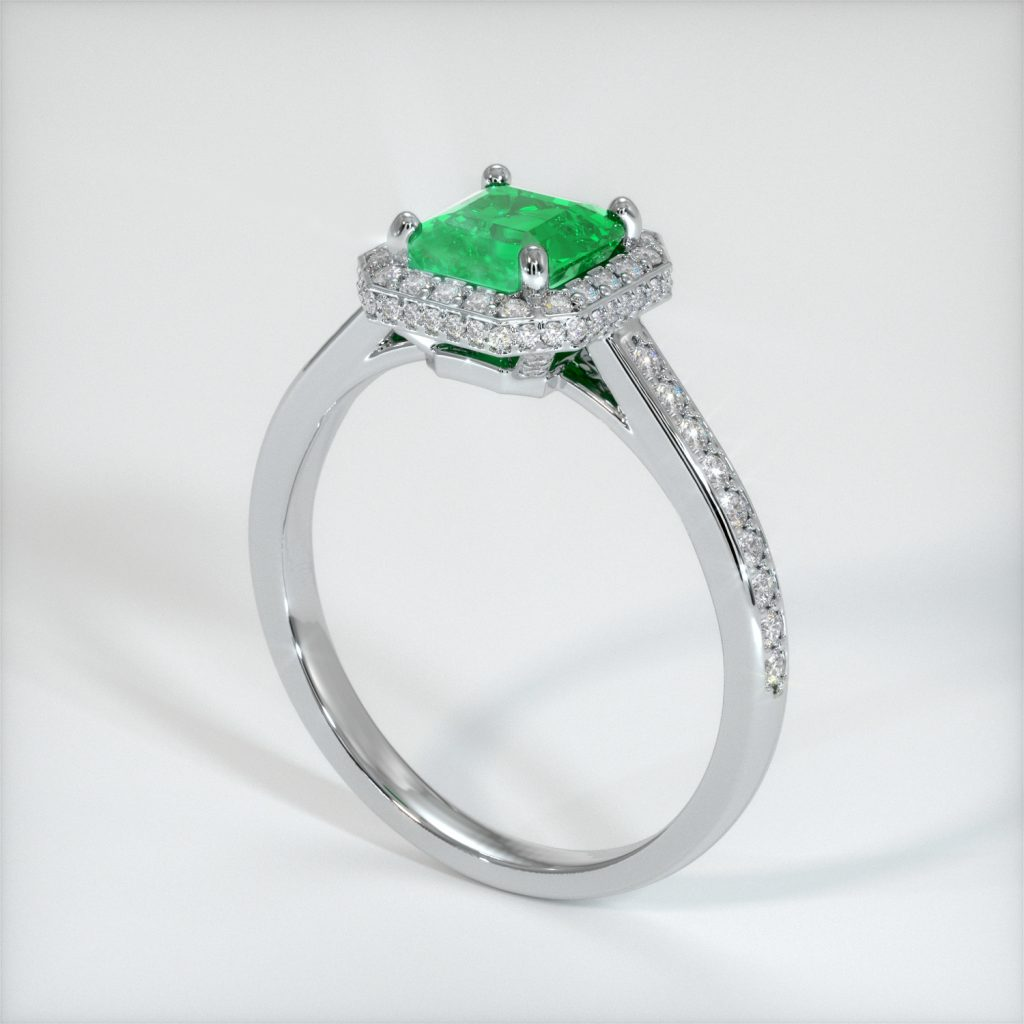 emerald ring CAD rendering