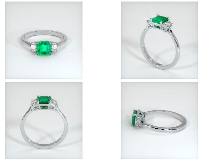 emerald ring CAD renderings