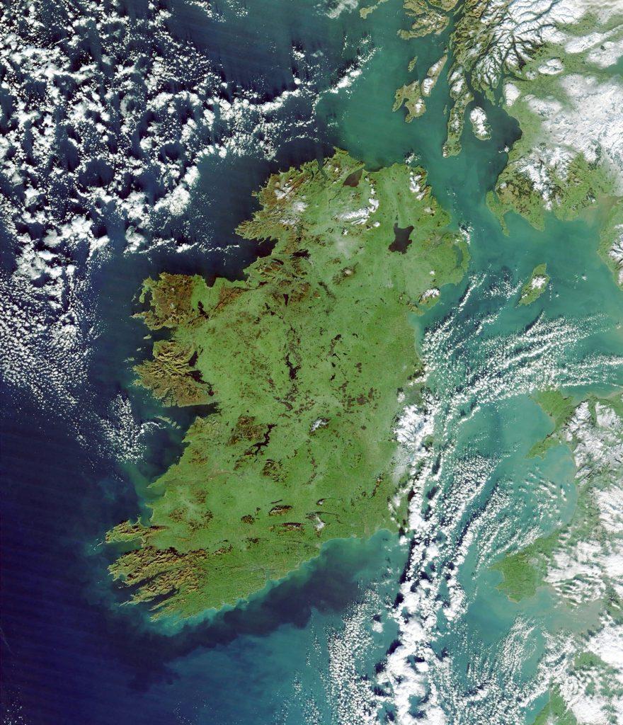 emerald isle ireland from space