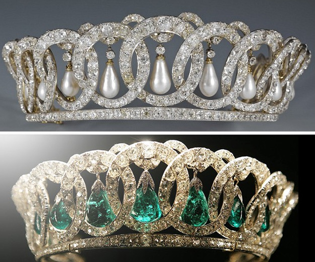 The evolution of the Vladimir Tiara from suspending pearls to emeralds.